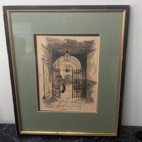 Vintage Leda Plauche New Orleans drawing
